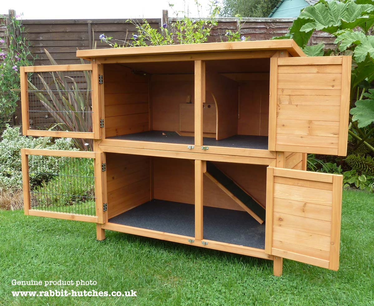Large rabbit hutch with doors open