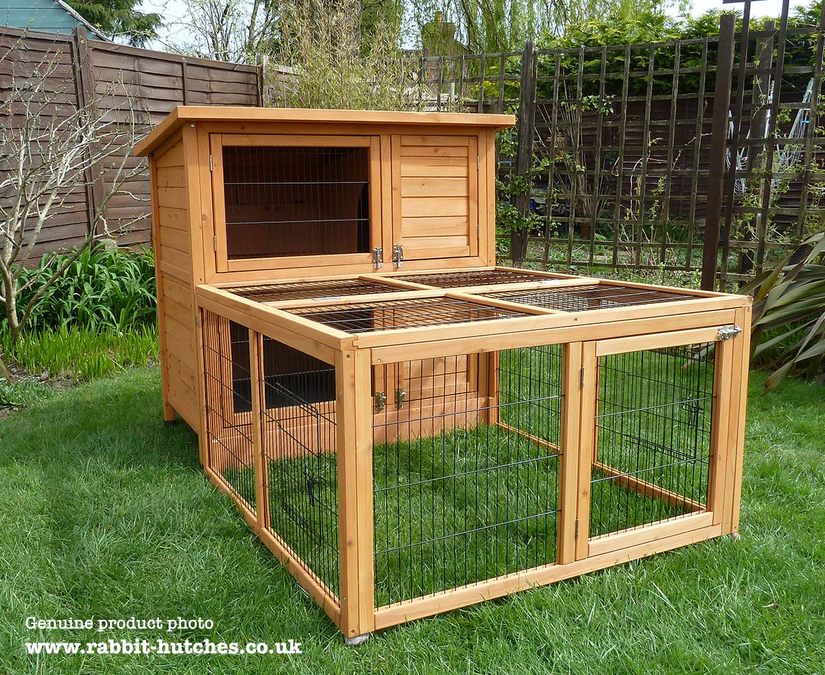 Large Double Hutch With Run
