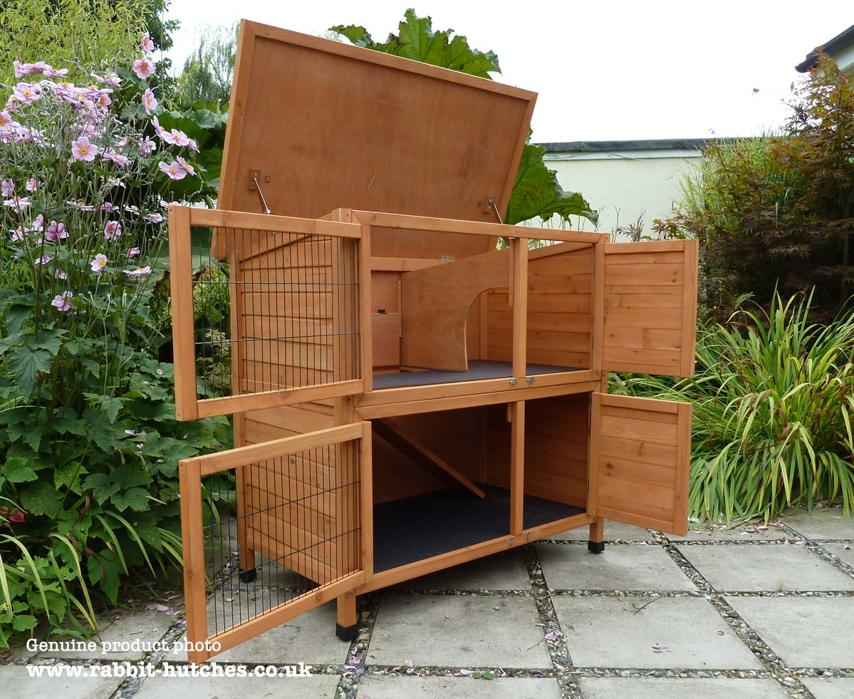 Double hutch with top open