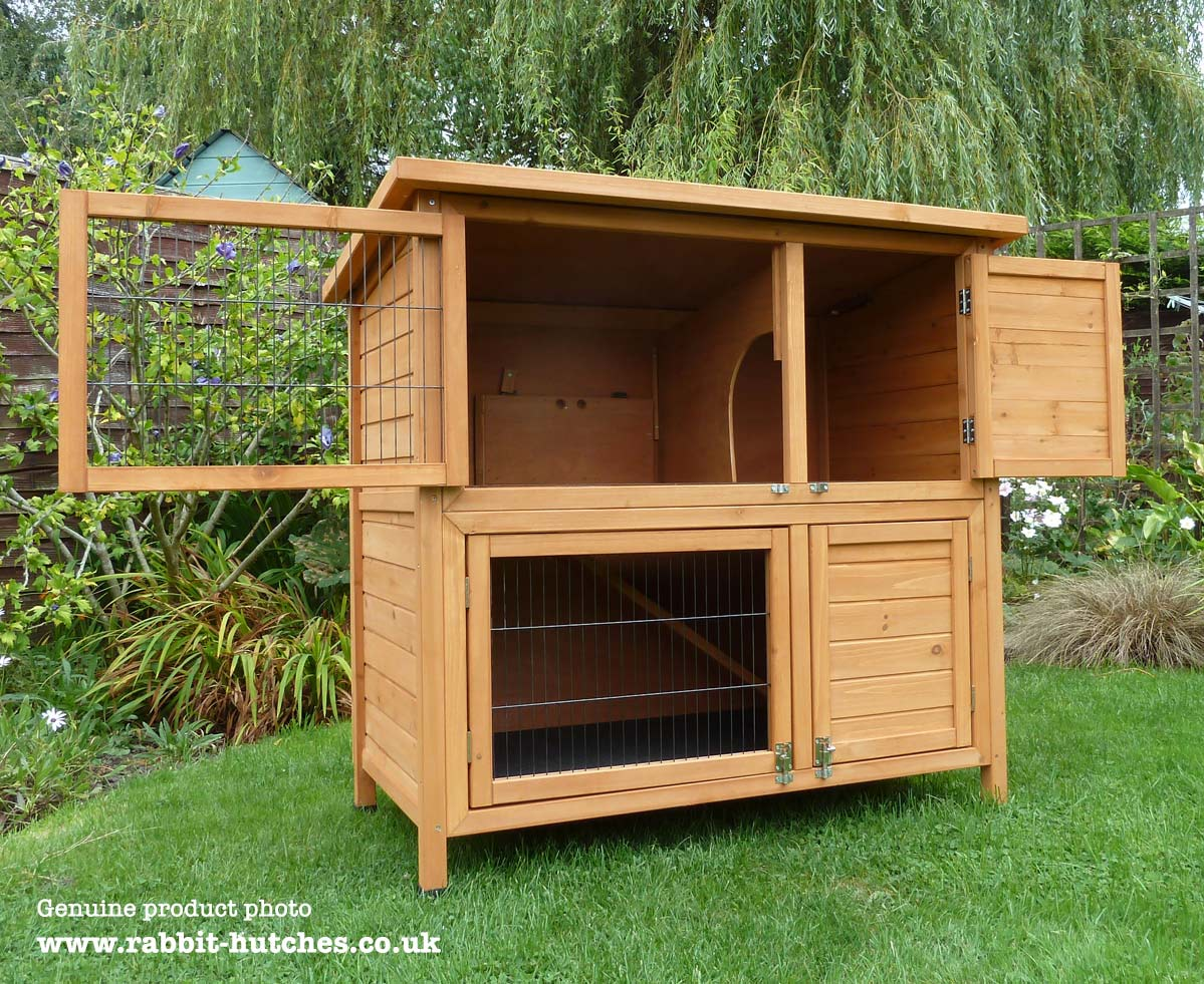 Double hutch with doors open