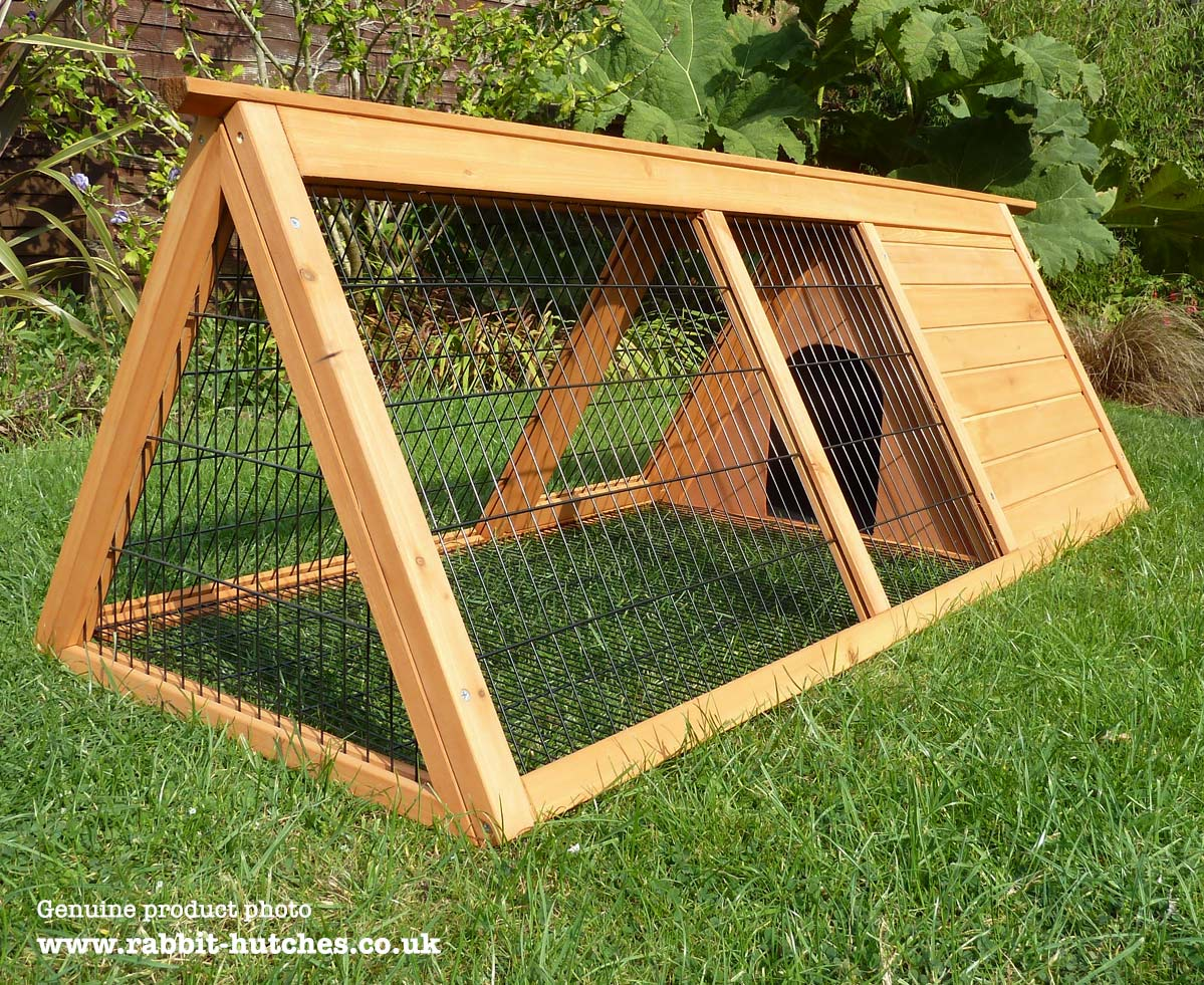A framed rabbit hutch